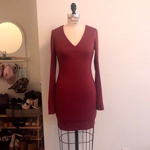 Bell Sleeve Fitted Burgundy Dress